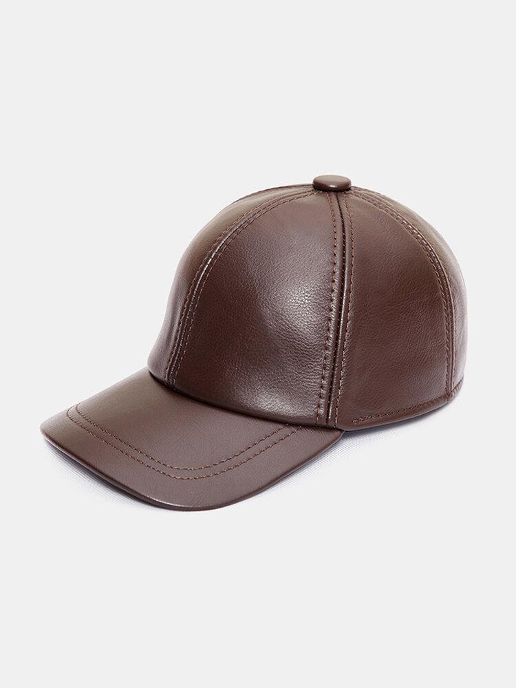 Men Vintage Genuine Leather Baseball Cap Outdoor Caps Adjustable