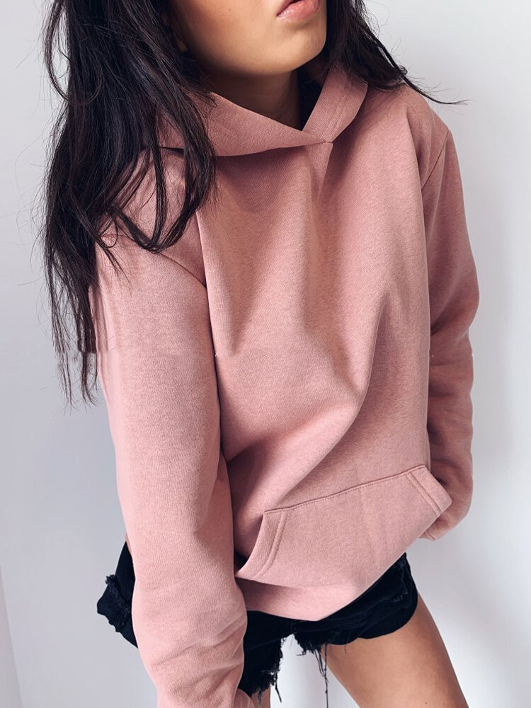 Solid Color Long Sleeve Pocket Casual Hoodie For Women