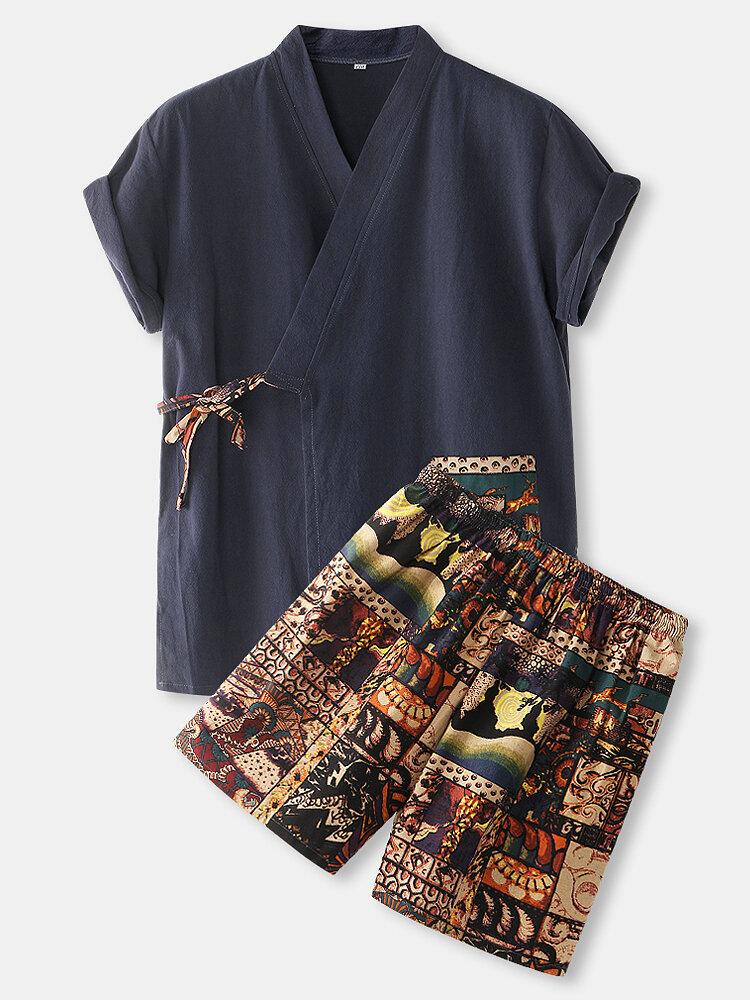 Mens Cotton Vintage Print V-Neck Tie Side Kimono Relaxed Fit Short Pajamas Sets