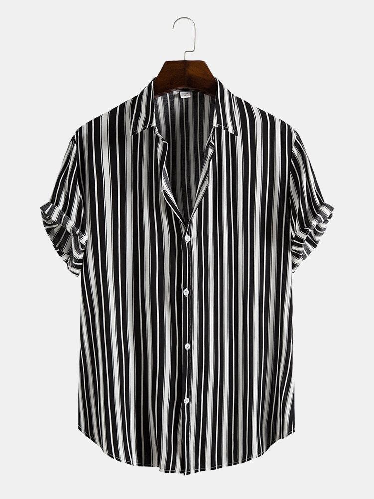 Mens Black Stripe Print Button Up Short Sleeve Lapel Casual Shirt