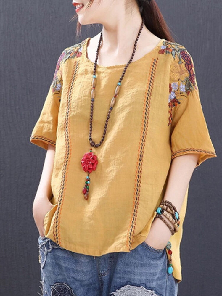 Embroidery_Loose_Crew_Neck_Short_Sleeve_Casual_TShirt