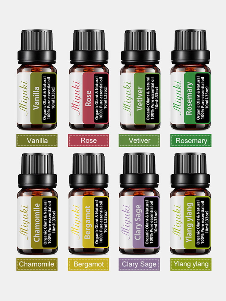 8 Pcs/Set Essential Oil Set Vanilla Rose Rosemary Chamomile Aromatherapy Relieve Stress Home Air Care Essential Oil Kit