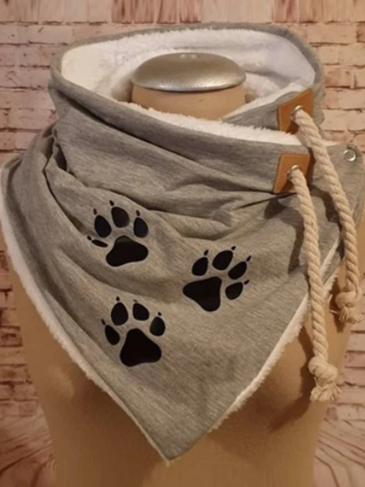 Women Thick Solid Color Dog Paw Printed Scarf Adjustable Neck Wrap Warm Scarf