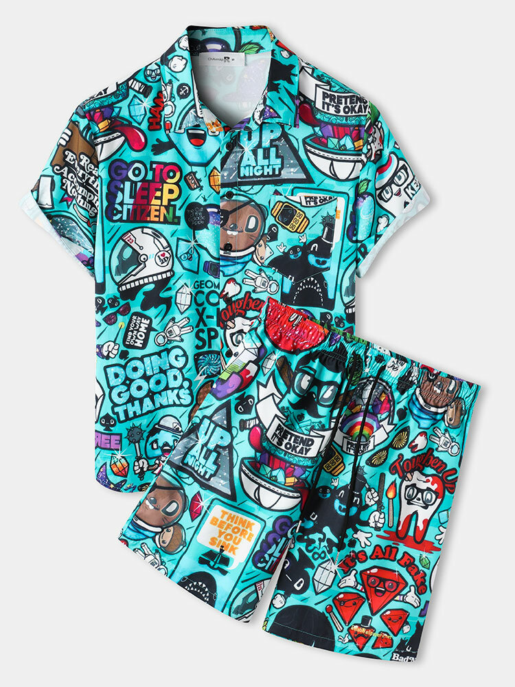 Mens Allover Funny Cartoon Print Loose Casual Two Pieces Outfits