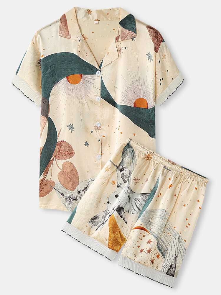 Women Bird Print Revere Collar Frills Trim Short Sleeve Pajama Sets