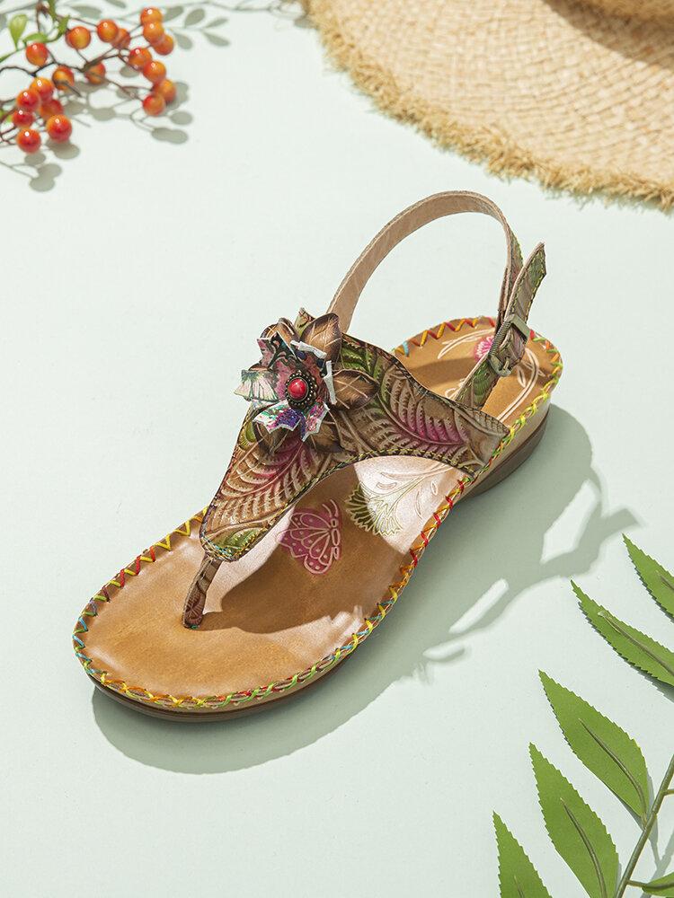 Socofy Bohemian Ethnic Print Flower Genuine Leather Buckle Clip Toe Flat Beach Sandals