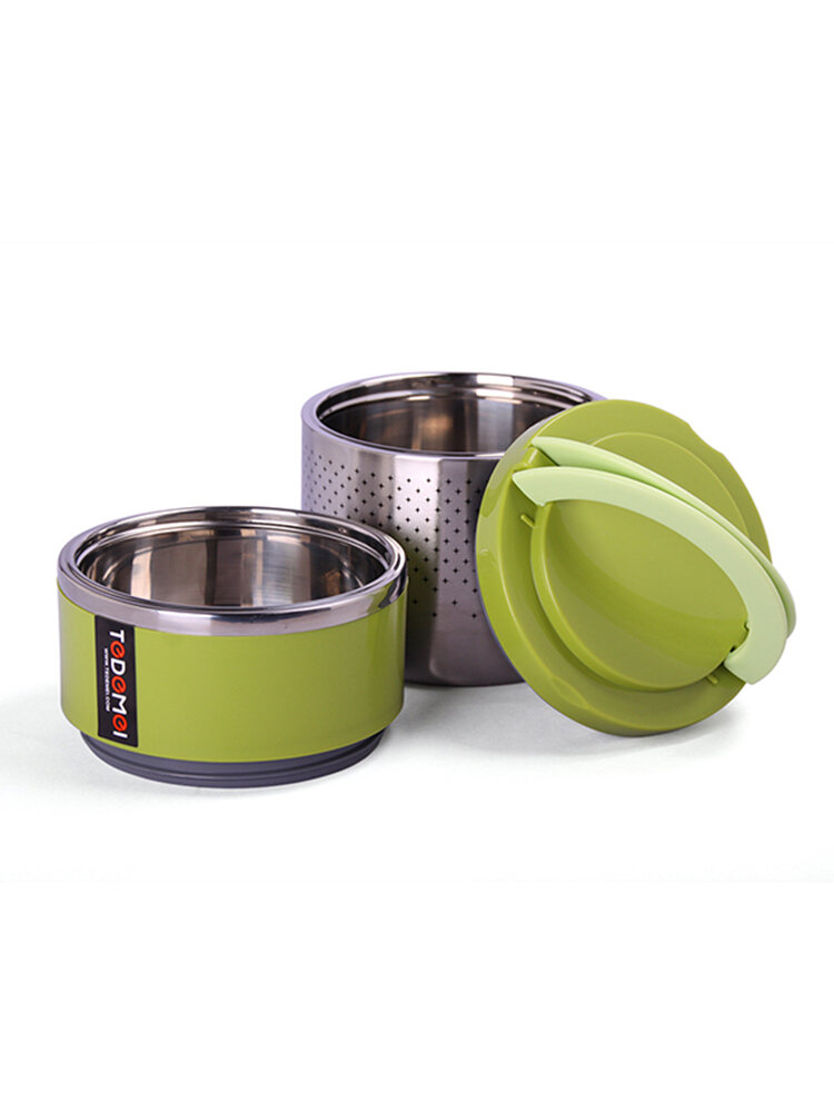 2 Layers Long Time Thermal Insulated Lunch Box Stainless Steel Vacuum Bento Food Storage Container