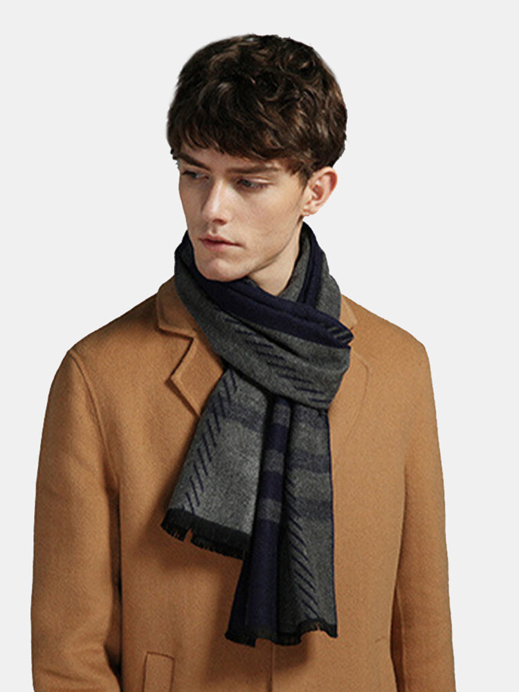 Men Cashmere Casual Universal Business Stripe Pattern Keep Warm Scarf With Tassel