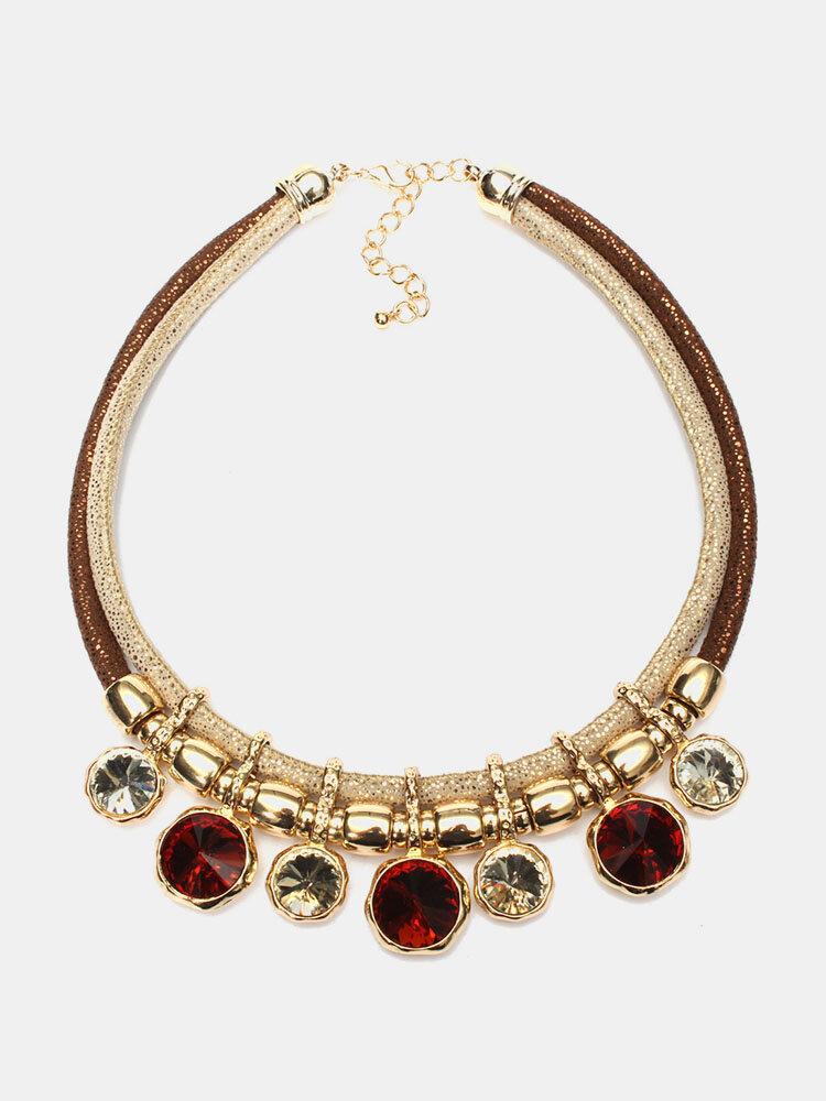 Crystal Round Gem Short Section Necklace
