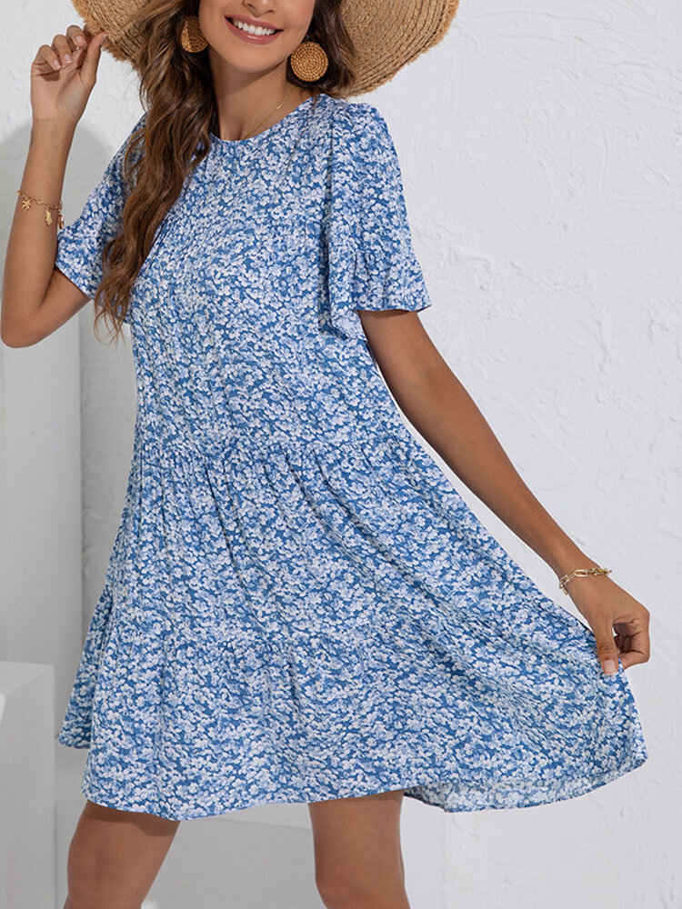 Floral Print Short Sleeve Pleated O-neck Summer Holiday Dress