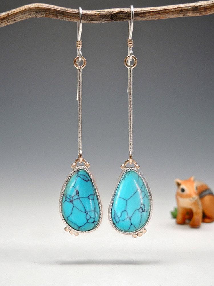 Vintage Drop-Shaped Women Earrings Long Turquoise Swing Pendant Earrings