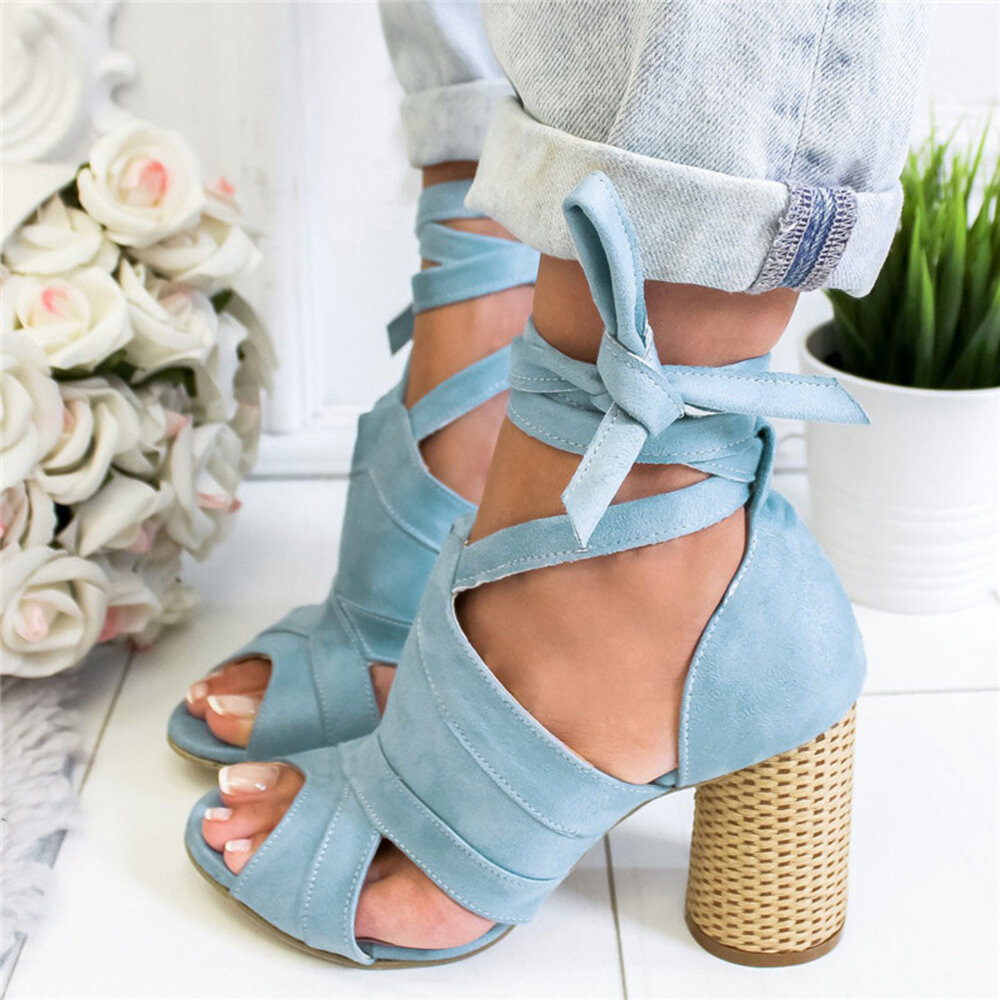 Large Size Women Casual Solid Color Peep Toe Lace Up High Heel Sandals
