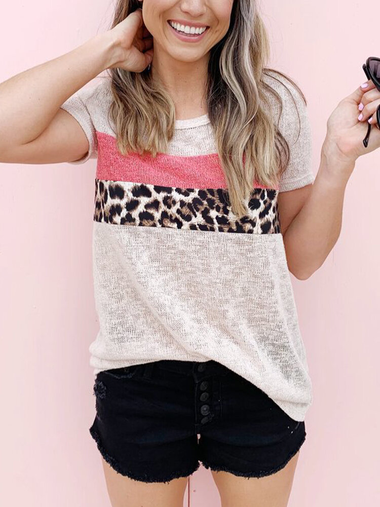 Leopard Printed O-neck Short Sleeve Casual T-shirt