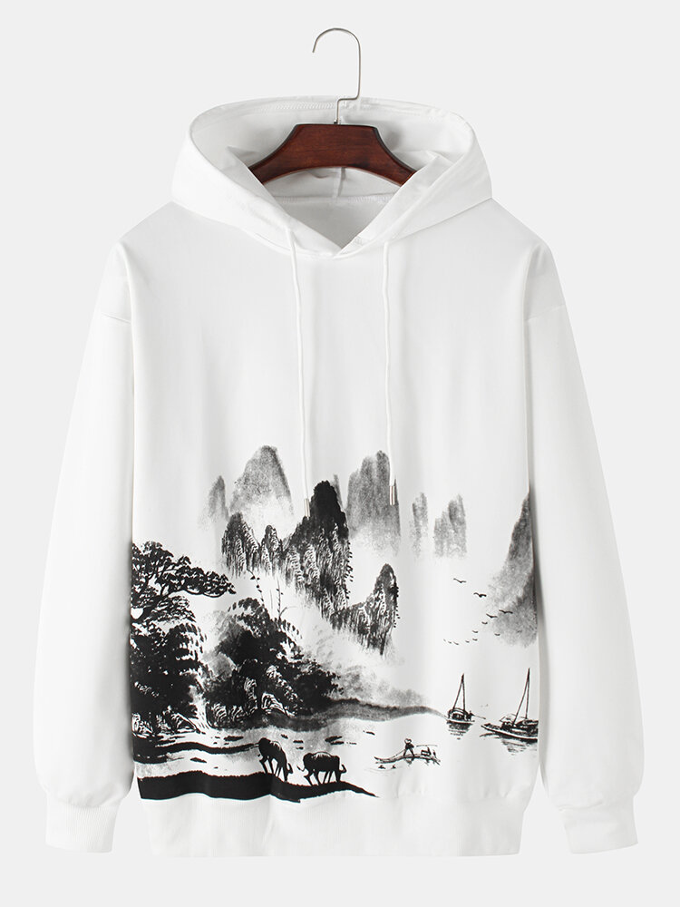 Mens National Style Landscape Painting Print Drawstring Pullover Hoodies
