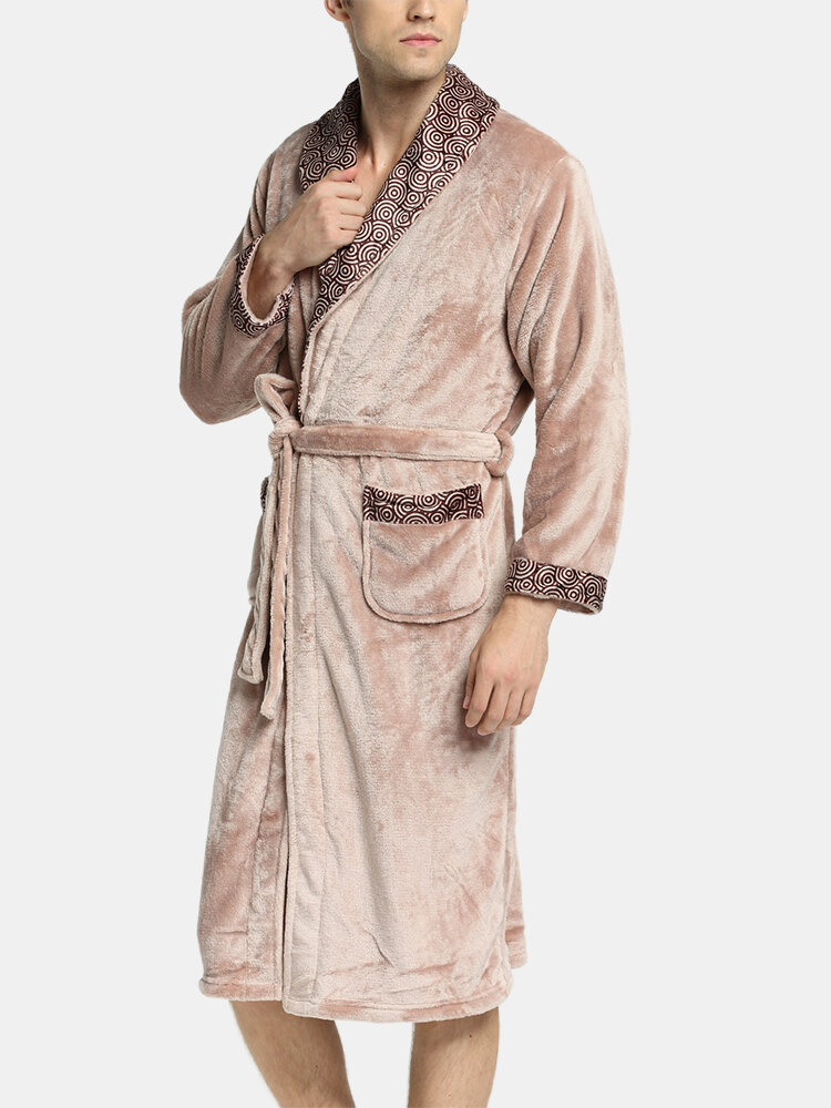 Mens Geometric Patterns Patchwork Lapel Thicken Warm Flannel Belted Cozy Loose Pajamas Robe