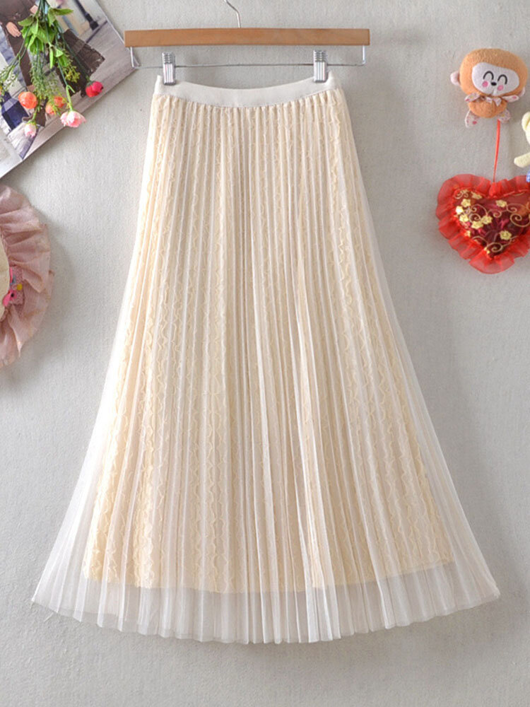 Flower Lace Embroidery Pleated Mesh Overlay Tulle Skirt