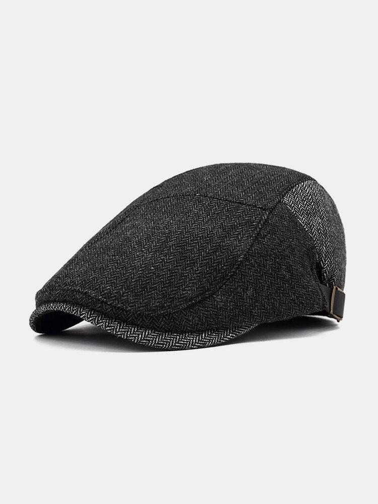 Men Spring Cotton Adjustable Hat Warm Vintage Outdoor Snow Beret Cap