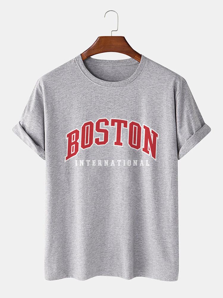 Mens 100% Cotton City Letter Print Short Sleeve Casual T-Shirt