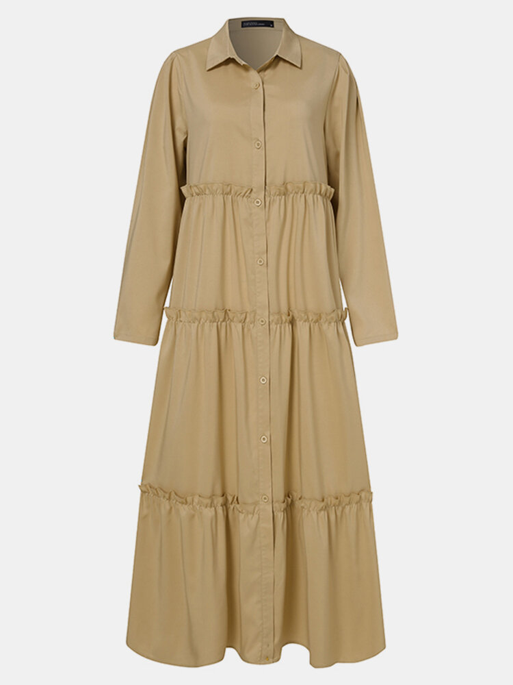Solid Color Button Pleated Long Sleeve Casual Dress for Women