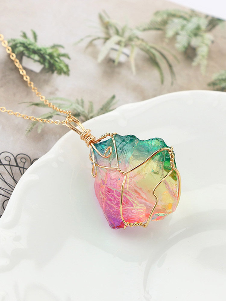 Vintage Winding Crystal Pendant Necklace Transparent Natural Stone Chain Necklace Chic Jewelry