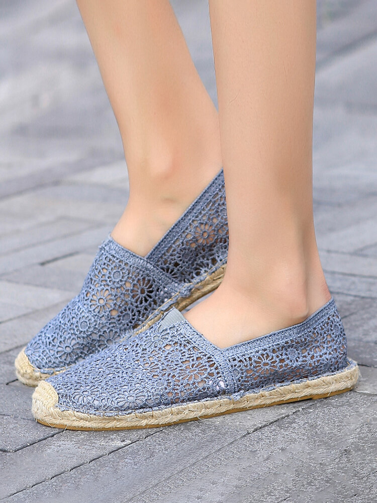 Soft Breathable Flowers Hollow Out Espadrilles Loafers For Women
