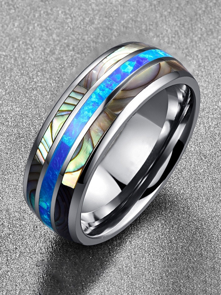 Vintage Tungsten Gold Men Ring Simple Inlaid Colored Shell Ring Gift