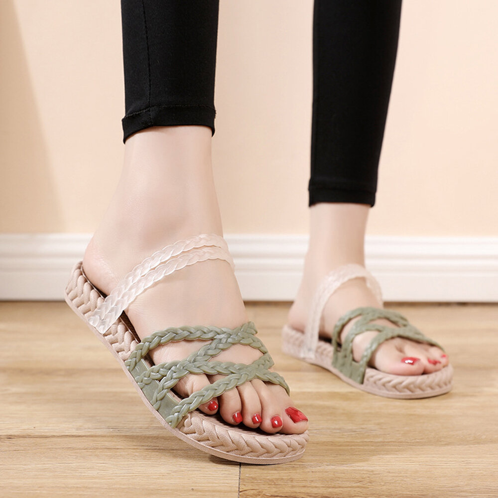 Women Cross Strap Braided Detail Comfy Lightweight Casual Slippers