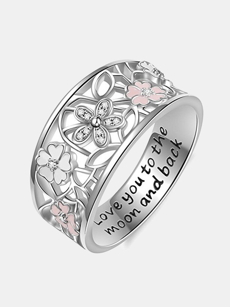 Sweet Pink Flower Charm Letters Engraved Finger Rings Engagement Wedding Jewelry for Women