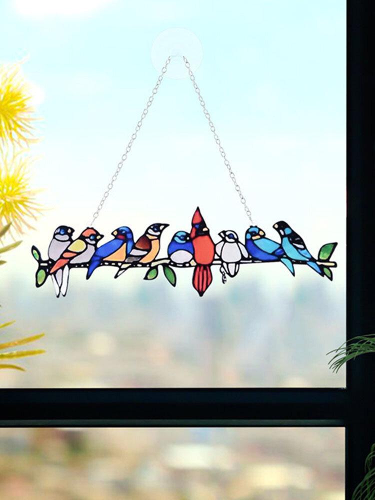 フェスティバルギフト複数の鳥ガラス窓ハンギングガーデンサンキャッチャーアクリル装飾品ホームパティオヤードの装飾