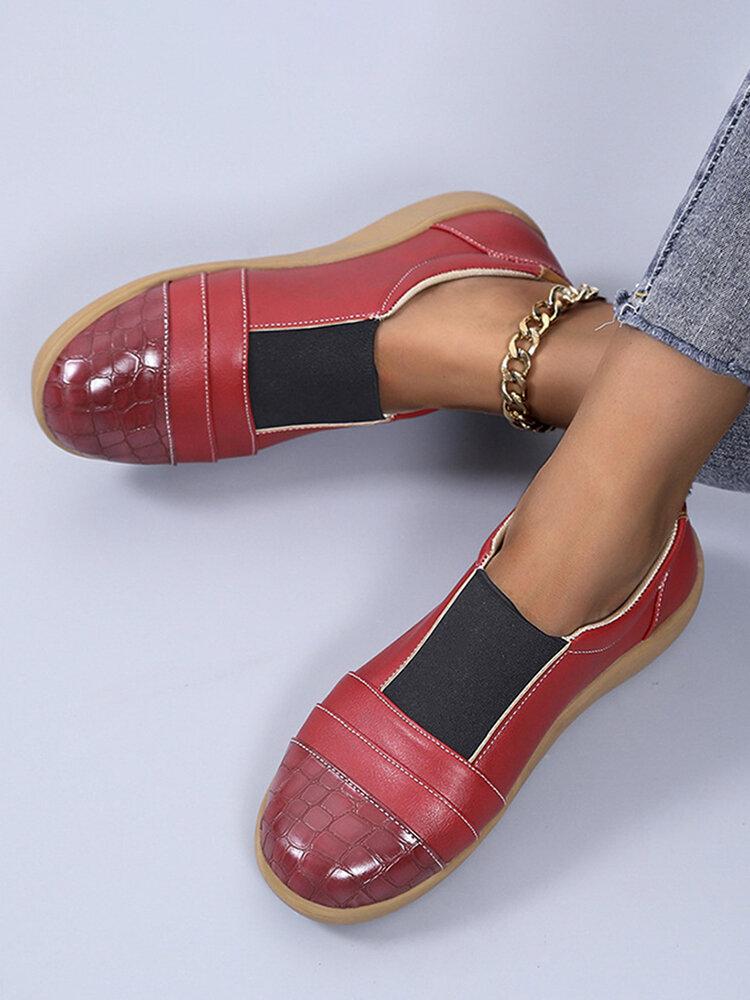 Large Size Women Soft Comfy Single Shoes British Vintage Stitching Flats