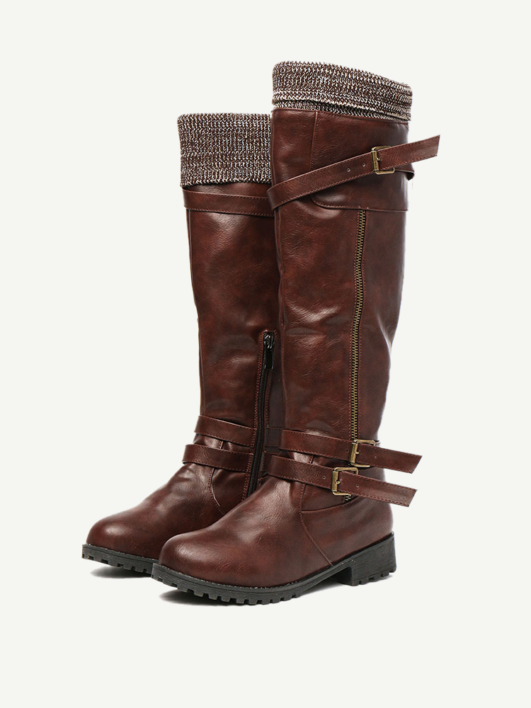 Large Size Women Retro Round Toe Buckle Strap Knee Length Riding Boots