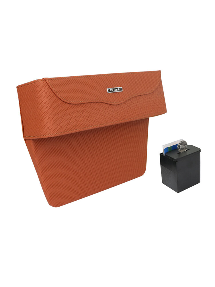 PU Leather Car Seat Crevice Storage Box Money Pot Grain Organizer Gap Slit filler Phone Holder