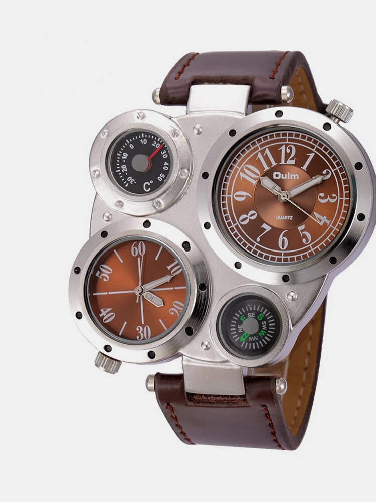 3 Colors Leather Alloy Men Vintage Watch Decorated Pointer Two Time Zone Compass Thermometer Quartz Watch