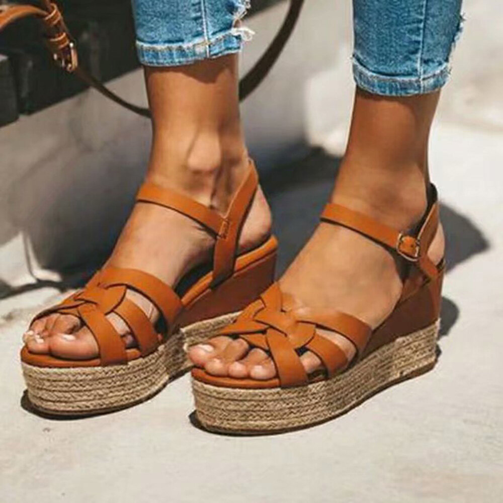 Large Sizes Womens Cross Exposed Platform lady Roman Buckle Sandals