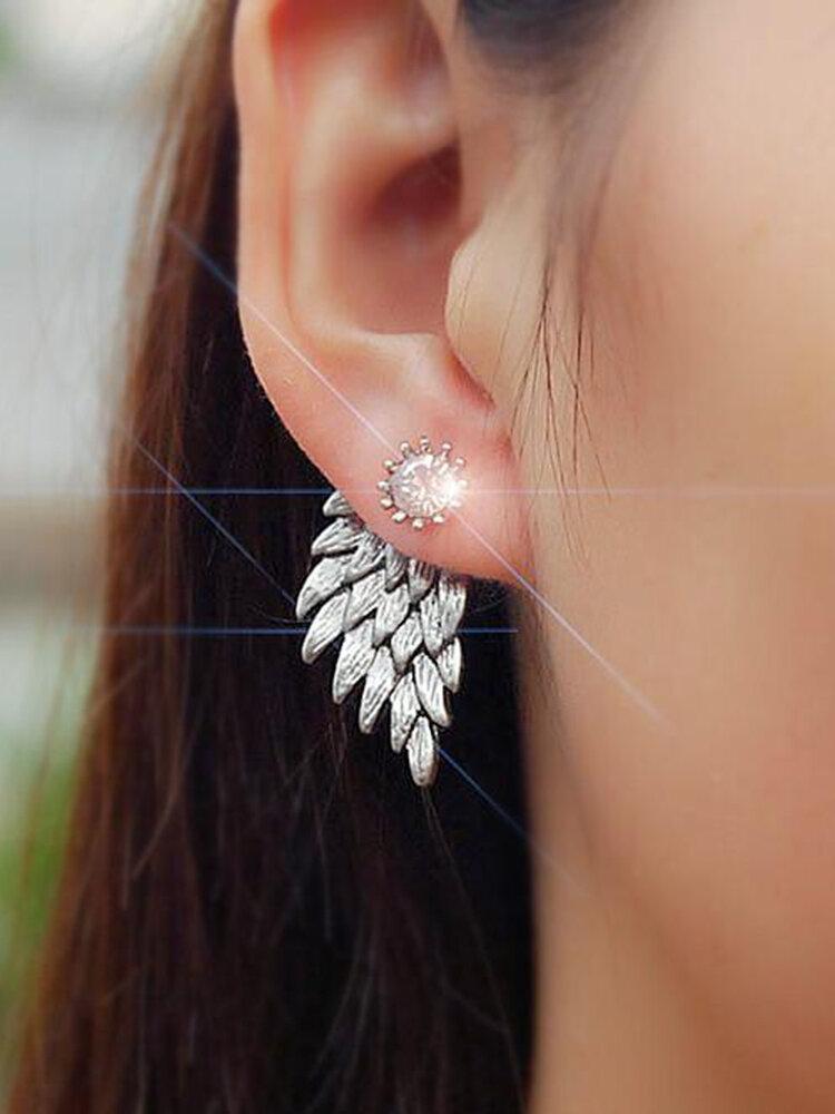 Vintage Ear Stud Earrings Angel Wings Feather Rhinestone Piercing Earrings Cute Jewelry for Women