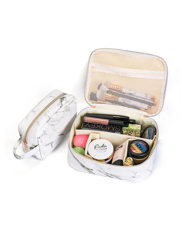 Tragbare Comestic Bag Marmor Makeup Organizer Etui Aufbewahrungstasche Reisetasche Schwarz Weiß Zwei Größen