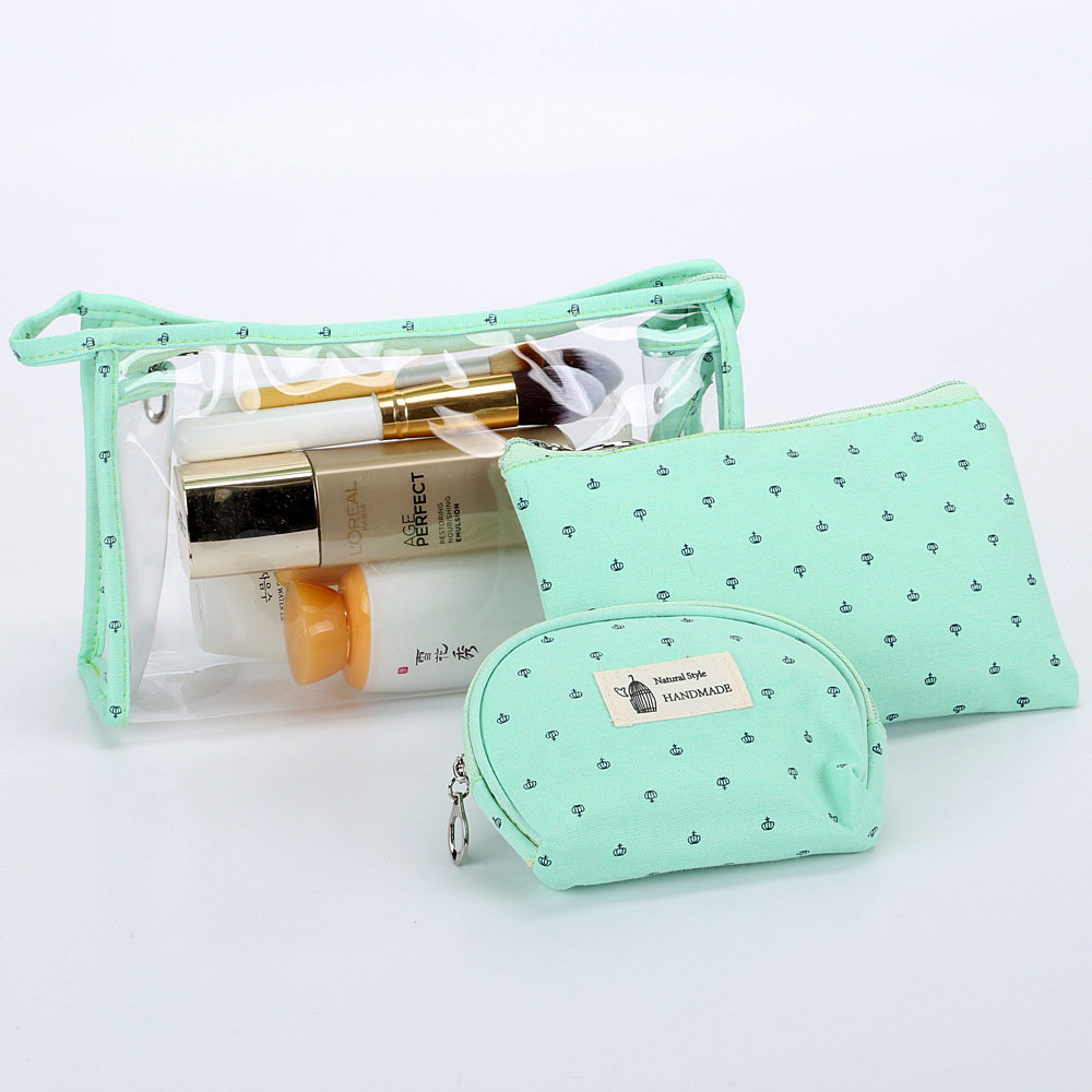 3Pcs PVC Transparent Candy Color Cosmetic Bag Travel Organizer Storage Bag
