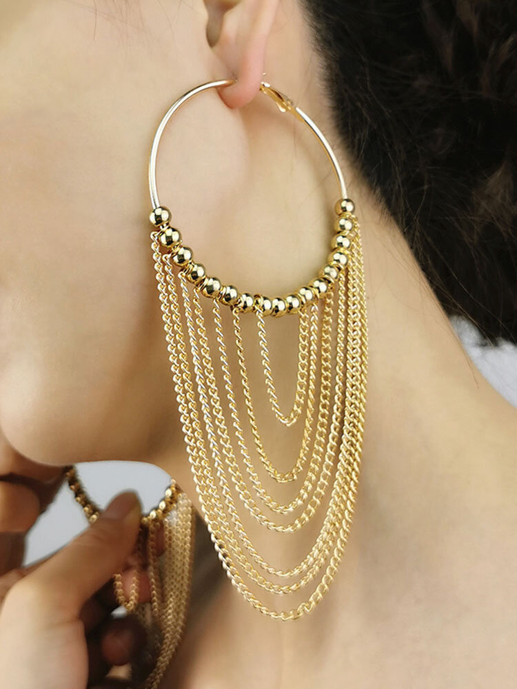 Alloy Exaggerated Long Tassel Large Multi-layer Earrings