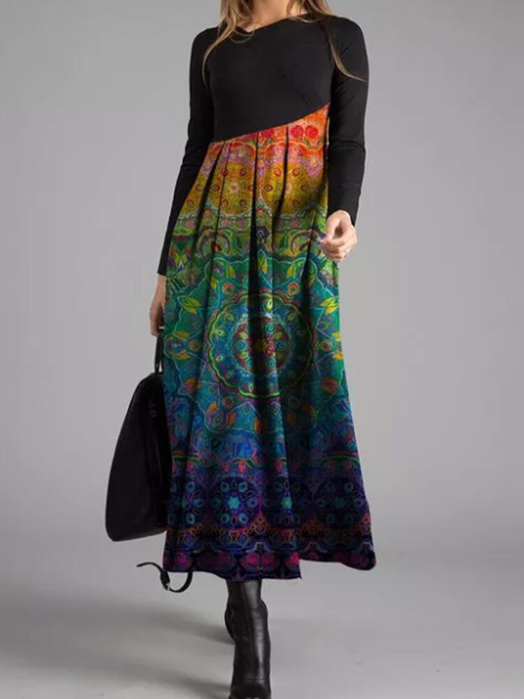 vendimia Patchwork asimétrico estampado Vestido Para Mujer