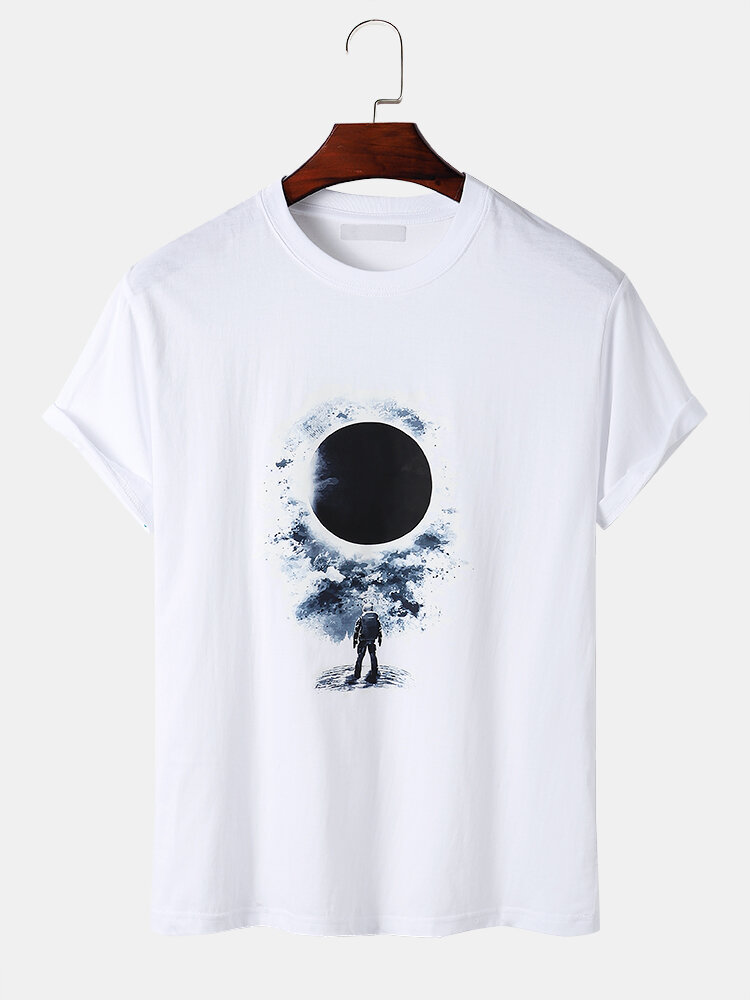 Mens Astronaut And Total Solar Eclipse 100% Cotton Short Sleeve T-Shirts