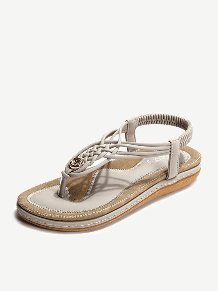 SOCOFY Knitting Clip Toe Elastic Flat Sandals