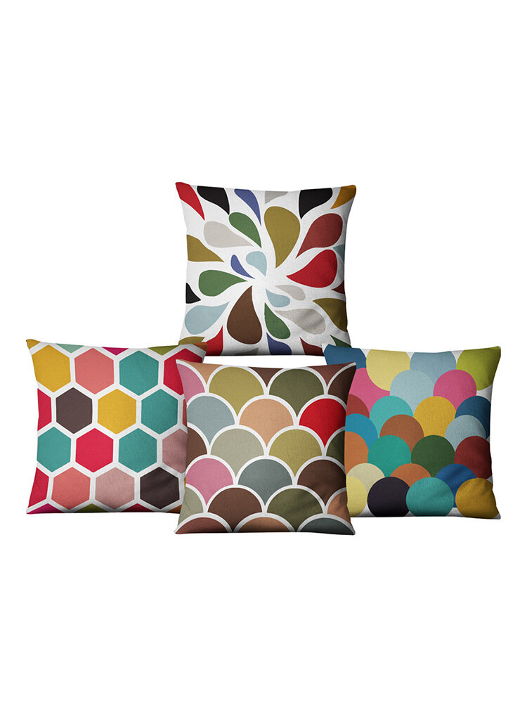 Water Ripple Geometric Color Wave Pillow Cover Linen Pillow Cushion Cover