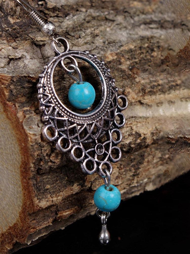 Ethnic Geometric Hollow Water Drop Earrings Metal Turquoise Pendant Tassel Earrings Vintage Jewelry
