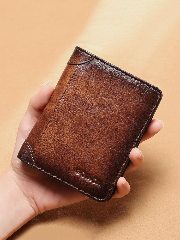 Men Genuine Leather RFID Anti-theft Retro Large Capacity Foldable Card Holder Wallet