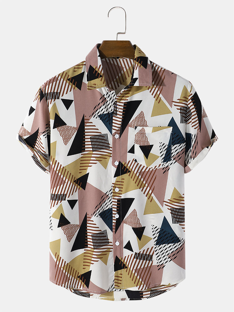 Mens All Over Geometry Print Lapel Short Sleeve Shirt With Pocket