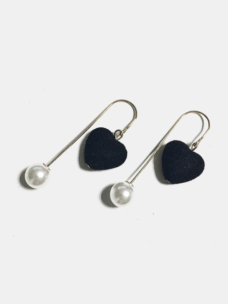 Fashion Ear Drop Earrings Three Dimensional Love Heart Shaped Pearls Earrings Jewelry for Women