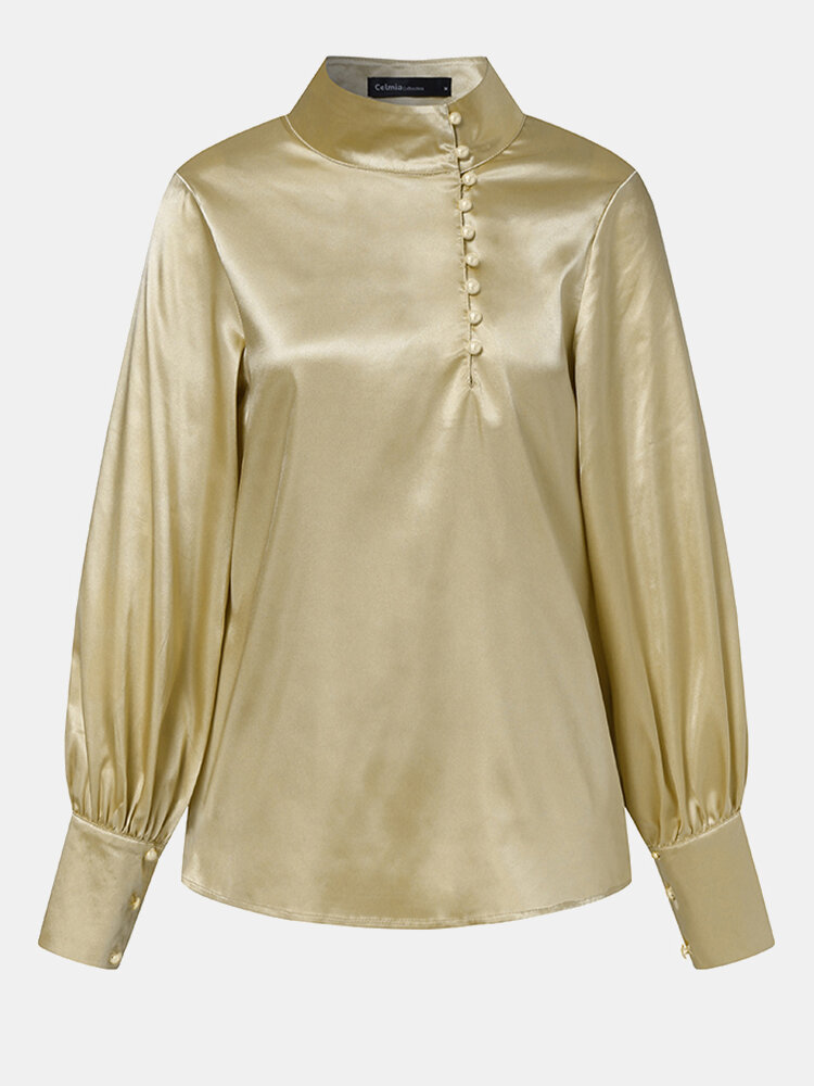 Solid Color High-collar Button Long Lantern Sleeve Casual Blouse for Women