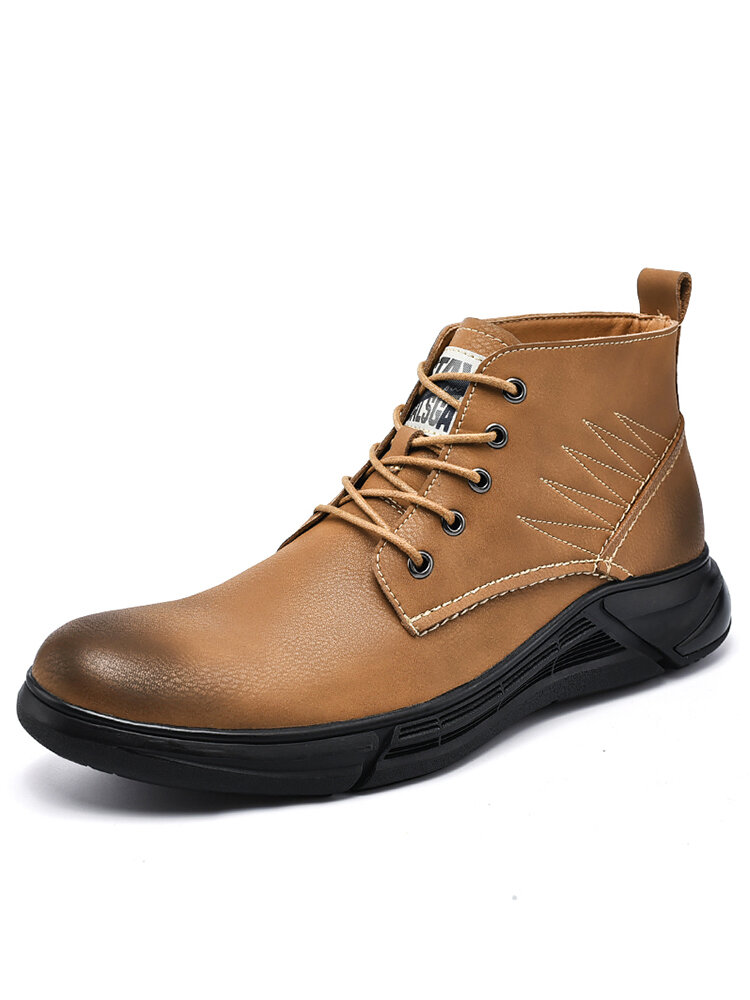 Men Cow Leather Round Toe Waterproof Non Slip Tooling Boots