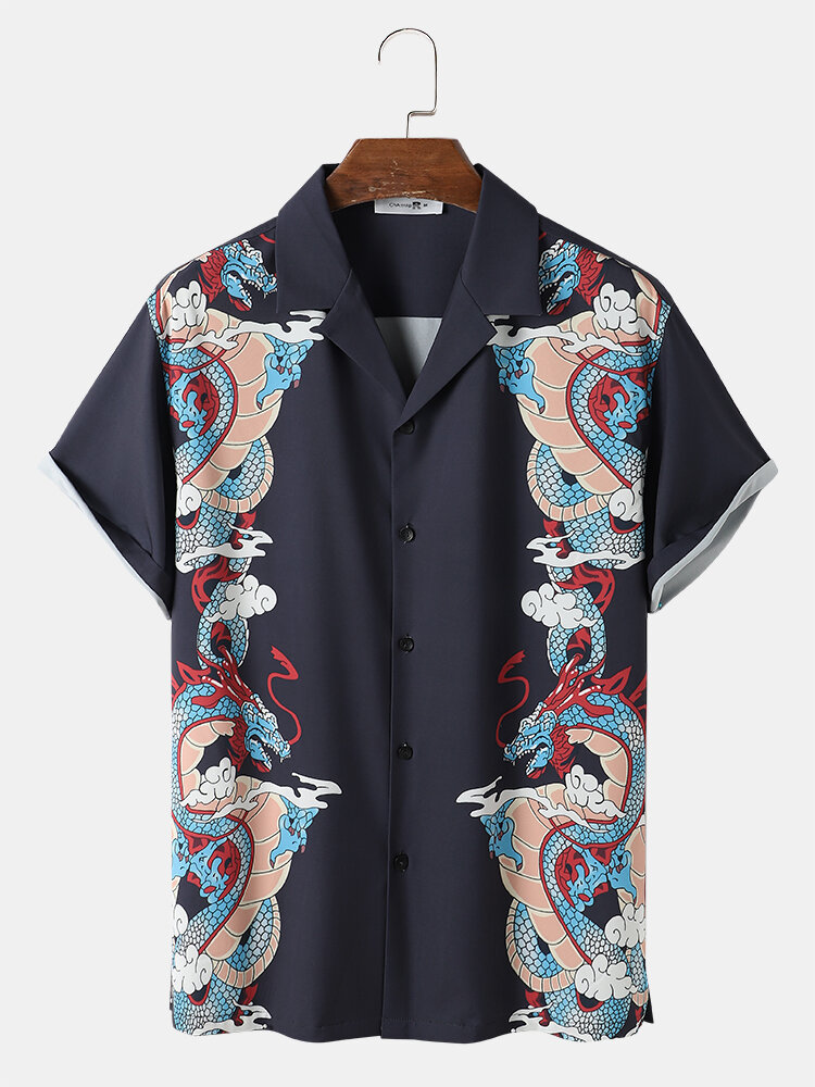 Mens Loong Print Chinese Style Revere Collar Short Sleeve Shirt