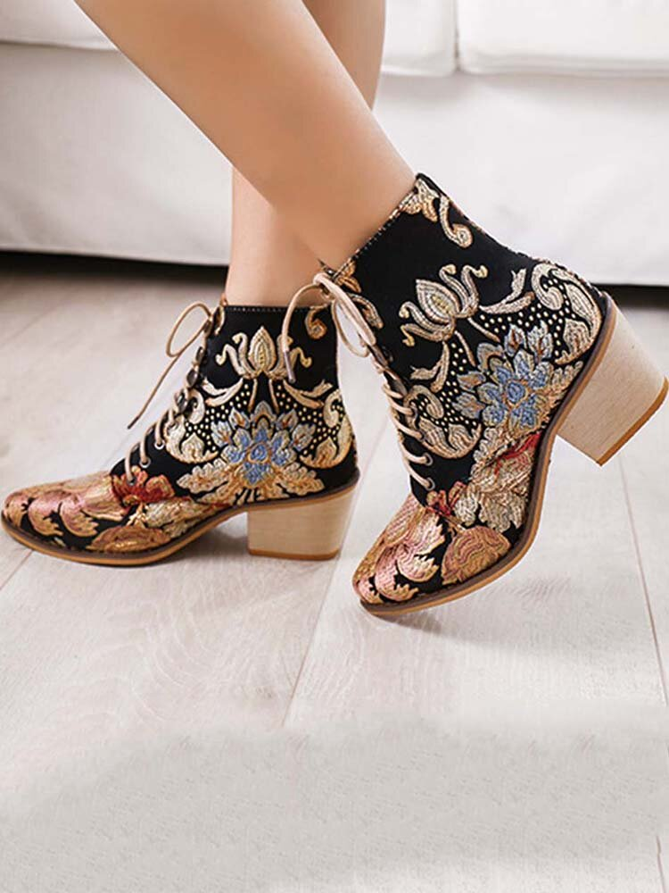 LOSTISY Large Size Women Summer Boots Pointed Toe Embroidered Lace Up Block Heel Short Boots